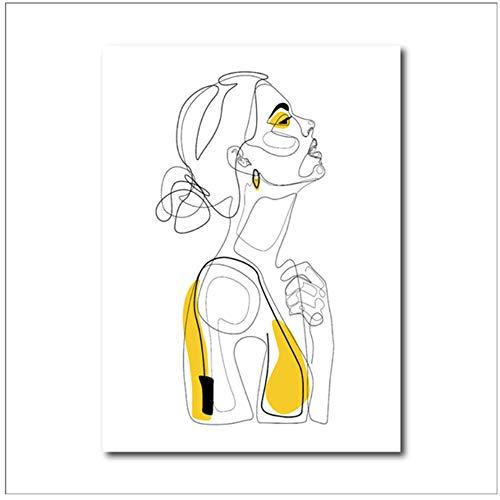 """NO BRAND Cuadro en Lienzo Resumen Línea Impresiones Dibujado Retrato Femenino Cartel Amarillo Boceto de Moda Mujer Decoración de Arte Cuadro de Pared 40x50cm (15.7""""x19.7)Sin Marco"""