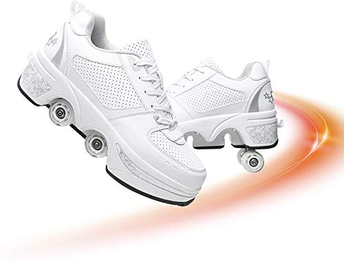 ABSOLU Schuhe Mit Rollen 2 in 1 Multifunktions Inline Skates Mit Bunten LED-Lichtern Multifunktions Deformations Skating Für Männer Frauen Und Kinder