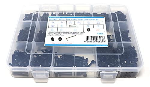 iExcell 1000 Pcs 12.9 Grade M3-P0.5 x 4/5/6/8/10/12/14/16/18/20/22/25/30mm Alloy Steel Hex Socket Head Cap Screws Bolts Nuts Assortment Kit, Black Oxide Finish