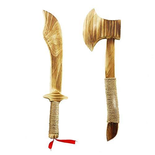 circa Dimensioni: lunghezza del coltello in legno: 41 cm, larghezza: 6,9 cm, lunghezza dell'ascia in legno: 31,8 cm, larghezza: 9,4 cm. Un regalo unico per i vostri bambini, nipoti e i loro amici. Le lame smussate offrono la massima sicurezza durante...