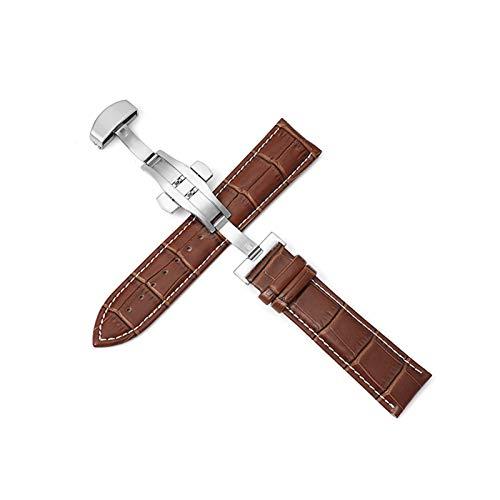 LiQinKeJi8 Correas de Reloj Correa de Cuero 12-24mm Correa Universal de Mariposa de Hebilla de Mariposa Correa de Hebilla de Acero 22mm Correa para los Hombres