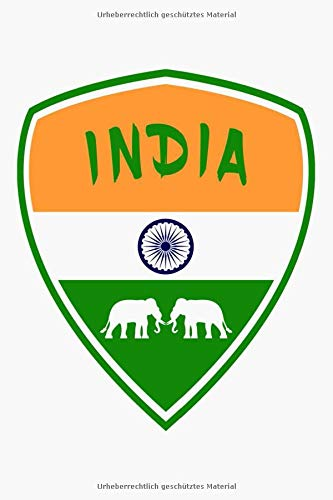 Indien Flaggen Notizbuch: Schönes Indien Wappen Flaggen Notizbuch mit Elefanten und 120 karierten Seiten im A5 Format