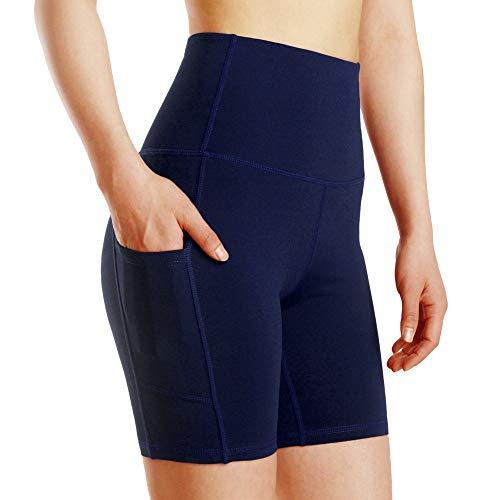 YHGTLL High Waist Workout Running Sports Shorts Navy Blue Women