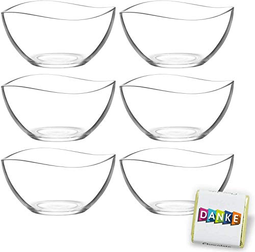 6 Stück Glasschalen im Set, Design Snack Schalen Frühstück oder Party, Vorspeise Glasschale, Dessertschale, Knabberschale aus Glas, 310ml Gläser, lebensmittelechte Müsli Glasschüsseln Vira