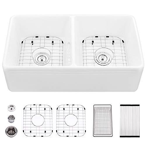 33 Farmhouse Sink Double Bowl White-VASOYO 33 Inch Kitchen Apron Front Sink Ceramic Porcelain Deep Reversible Fireclay Double Basin Sink