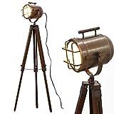 Antique Rusty Searchlight Tripod Marine Spotlight Floor Stand LED Studio Lamps Nautical Adjustable Legs