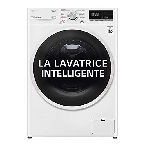 LG F4WT408AIDD - Lavadora con inteligencia artificial, carga frontal, capacidad 8 kg, función vapor, 1400 rpm, 60 x 56 x 85 cm