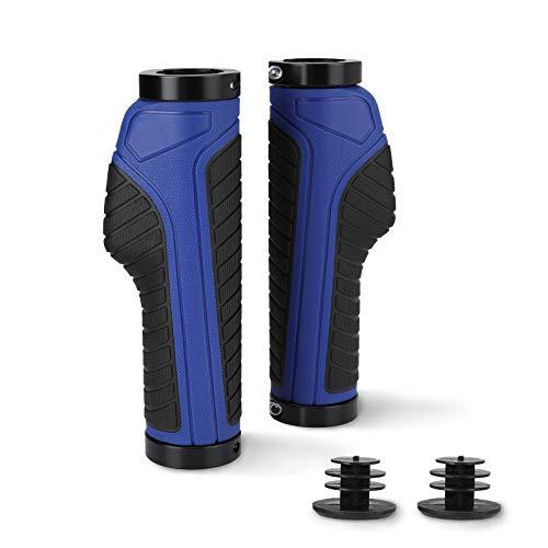 BFVV Ergonomic Bike Grips Dual Lock On with Bar Ends Adult Bicycle Handlebar Grips Rubber Handlebars Cover for MTB XC Racing FR Bike (Blue)