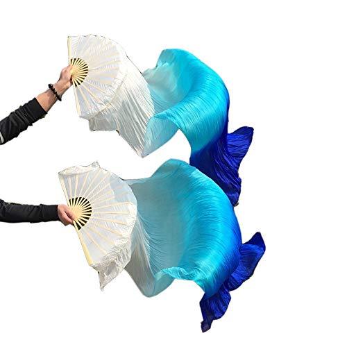 シルクファンベール 2本セット シルク100% ベリーダンス ファンベール シルクファンベール ベール シルク 衣装 扇子 団扇 舞台 小道具 アクセサリー 扇子 団扇 (白空色青)