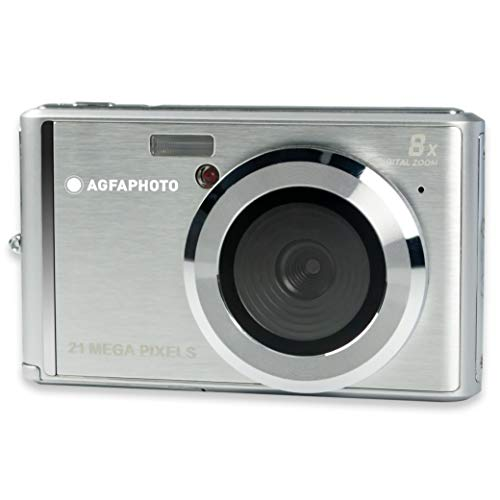 AGFA Photo - Cámara Digital compacta con 21 Mpx, Sensor CMOS, Zoom Digital 8X y Pantalla LCD, Color Plateado
