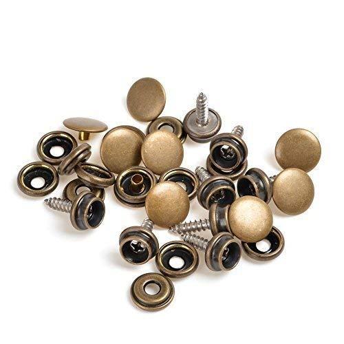 Trimming Shop 4-delig 15 mm drukknoppen met 3 stuks toolkit voor leer handwerk, naaien projecten, handtassen, kleding, wildvarken hoesje, hoody, caravan, duurzaam, lichtmetalen snapbefessteiger bronskleurig