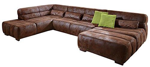 Cavadore Wohnlandschaft Scoutano, XXL-Sofalandschaft in U-Form im Industrial Design, 363 x 76 x 227 cm, Lederoptik braun
