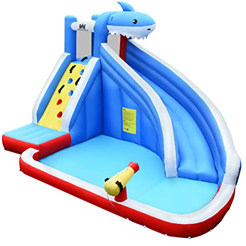 BOUNTECH Inflatable Water Slide, Shark Themed Bounce House w/Long Slide, Climbing Wall, Splashing Pool, Water Cannon, Including Oxford Carry Bag, Repairing Kit, Stakes, Hose (Without Blower)
