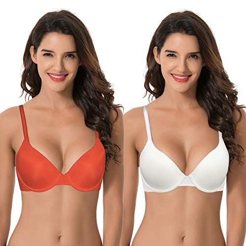Curve Muse Women's Plus Size Full Coverage Padded Underwire Bra-2PK-IVORY,FLAME-40C