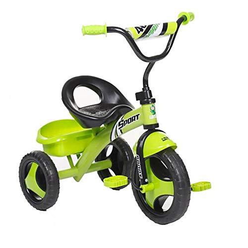 Bicicleta Triciclo Bebe,Coche Ligero Niño Bicicleta Ruedas Gomas Conducción Silenciosa Niños 5 Años Máx 30 kg(Verde)