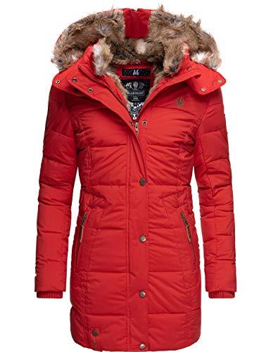 Marikoo Damen Wintermantel Steppmantel Parka mit Kapuze Lieblings Jacke Rot Gr. XXL