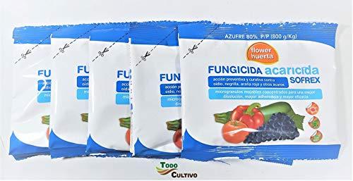 Todo Cultivo Fungicida acaricida azufre mojable contra oidio negrilla araña roja y Otros acaros. Tratamiento para 100 litros.(5 Sobres)