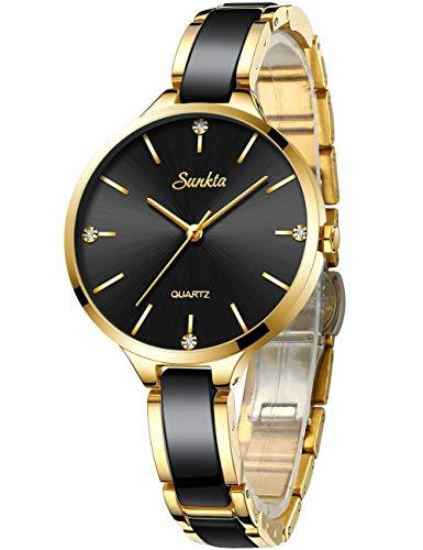 SUNKTA Oro Rosa Relojes para Mujer Cuarzo analógico Impermeable Relojes Señoras Elegante Casual Cerámica Chicas Reloj de Pulsera (Negro Dorado)