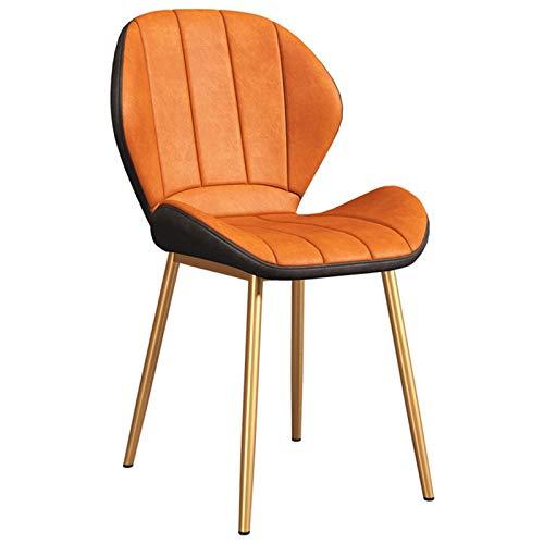 ZYXF Sillas De Comedor Sillas Cocina Nórdicas Cuero Sintético Sillas Bar Metal Silla De Oficina Patas De Metal Dorado Dining Chairs (Color : Orange)