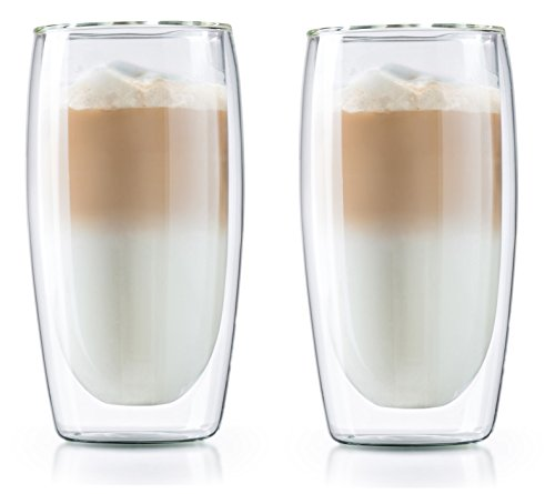 CAFÉ BREW High End Double Wall Coffee Mug - Set of 2 Borosilicate Insulated Glass Coffee Glasses - Best Coffee Cups - BPA Free - Dishwasher Safe - Best Double Wall Glass Coffee Cup (12oz)