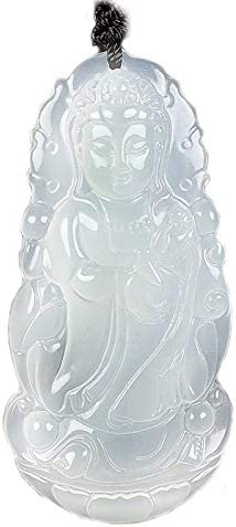Natural Chalcedony Guanyin Pendant Men's Jade Buddha Necklace