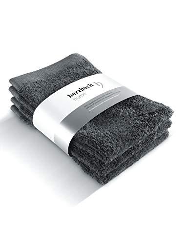 herzbach home Handtuch Gästetuch 3er-Set Premium Qualität aus 100% ägyptischer Baumwolle 30 x 50 cm 600 g/m (Anthrazit)