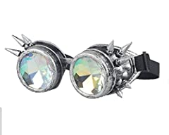 ZAIQUN Kaleidoscope Glasses Steampunk Goggles Rivet Steampunk Windproof Mirror Vintage Gothic Rave Rainbow Crystal Lenses Glasses #5