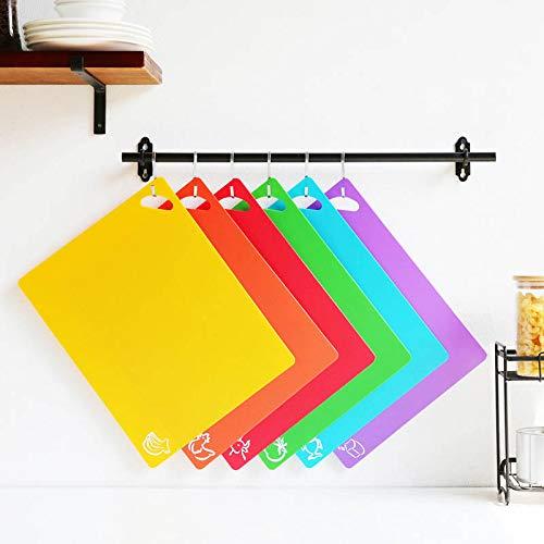 NIWWIN Tabla de cortar de plástico para cocina flexible Tabla de cortar con iconos de alimentos de colores Tablas de colgar fáciles antimicrobianas antideslizantes, aptas para lavavajillas (6pcs)