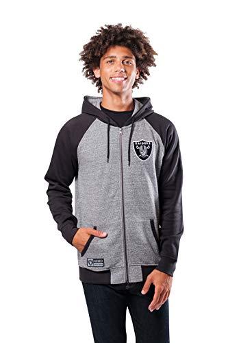 Ultra Game NFL Las Vegas Raiders Mens Full Zip Soft Fleece Raglan Hoodie, Team Color, Medium