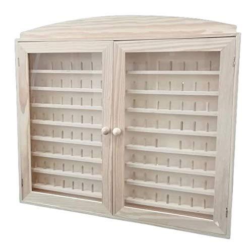 Vitrina colecciones dedales. 2 puertas. Capacidad: 144 dedales. Medidas (ancho/fondo/alto): 60 * 6 * 54 cms. En madera de pino en crudo. Para pintar.