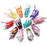 24pcs Resin Ice Cream Cup Charms Pendants Necklace Earring for DIY Crafts Hanging Keychain Bag Decoration 12mmx26mm (A601)