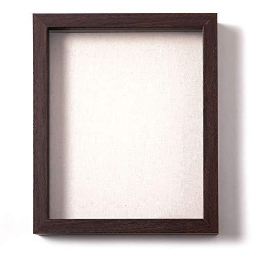 Muzilife - Marco 3D con tabla de tela, 20 x 25 cm, marco de cristal para medallas, billetes y fotos (marrón)