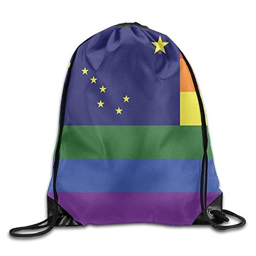 Etryrt Zaino con Coulisse,Borse Sacca,Sacchetto Rainbow Flag Alaska Cool Gym Drawstring Bags Travel Backpack Tote School Rucksack