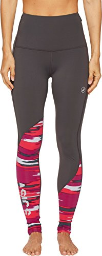 ASICS Women's Fuzex High Waist Tights, Dark Grey/Impulse Cosmo Pink, Small
