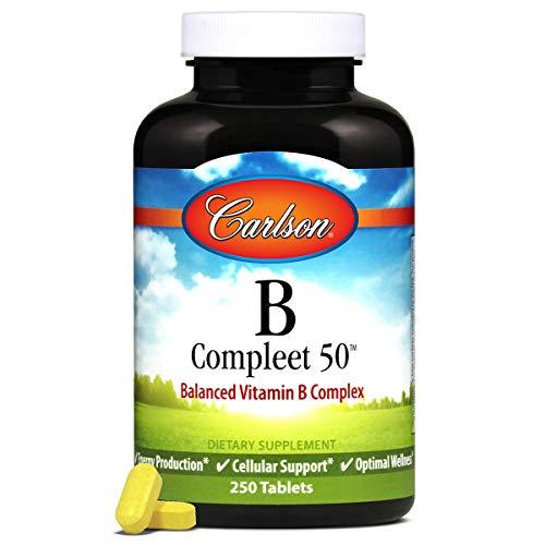 Carlson - B Compleet 50, Balanced Vitamin B Complex, Energy Production, Cellular Support & Optimal Wellness, 250 Tablets