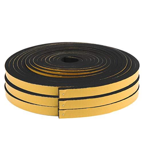 YOTINO 3 rollos de cinta de espuma autoadhesiva negra para juntas, tira de sellado para puertas y ventanas de 12 x 6 mm