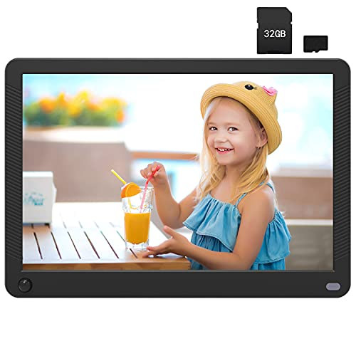 10 inch Digital Frame with Motion Sensor & 32GB SD Card, Digital Photo Frame Support 1920x1080 IPS Screen,1080P Video,Music, Slideshow,Breakpoint Play,Auto-Rotate,Adjustable Brightness,Remote Control