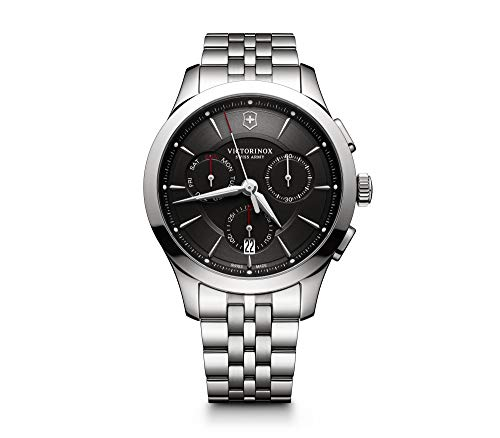 Victorinox Men's Alliance Swiss-Quartz Watch with Stainless-Steel Strap, Silver, 21 (Model: 241745)