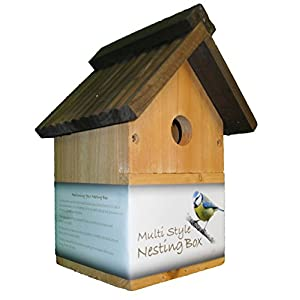Green Jem NB1 Traditional Wooden Multi-Style Nesting Box, Brown, 18.5x16.5x26 cm