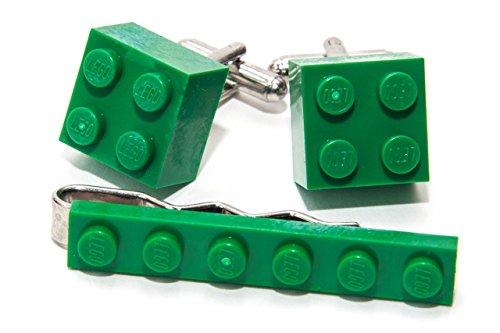 Vert authentique Lego Pince à cravate et boutons de manchette – Funky rétro Cool Boutons de manchette fabriqué par Jeff Jeffers