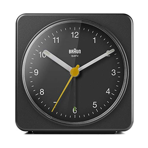 Braun Classic Analogue Alarm Clock with Snooze and Light, Quiet Quartz Sweeping Movement, Crescendo Beep Alarm in Black, Model BC03B.