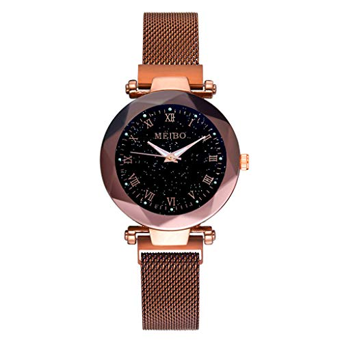 Damen Uhr,Zimuuy Mode Elegant Sternenhimmel Flachglas Quarzuhr Analog Armbanduhren Schmuck (Kaffee)