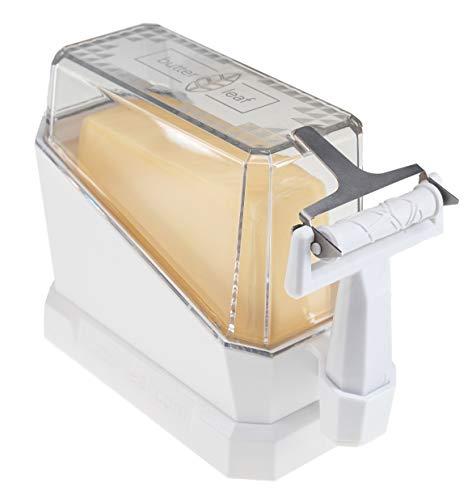 butter leaf Butterdose mit Butterschäler I Zaubert perfekte Butterblätter für Butterbrot & Co. simpel & frustfrei I Funktionale Butterdose einfach zu reinigen I Innovativer Butterschneider (Weiß)