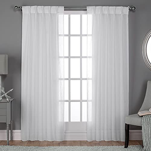 """Exclusive Home Curtains Belgian Sheer Textured Linen Look Jacquard Pinch Pleat Panel Pair, 84"""" Length, Winter White, 2 Count"""