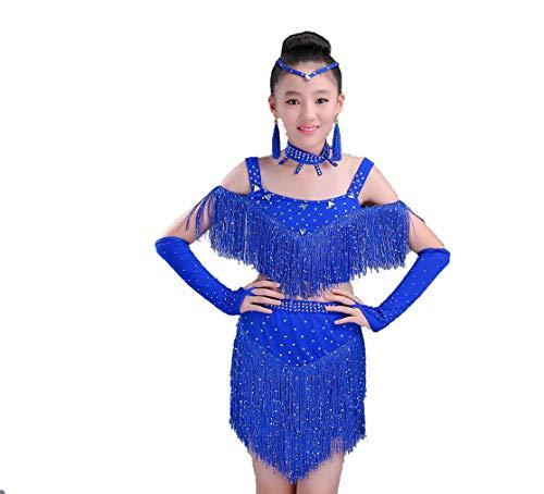 YZLL Lateinamerikanische Tanzkleidung FüR Kinder Latin Dance Performance-Kleid MäDchen Latin Dance GesäUmte Tanzkleid TanzkostüMwettbewerb Stieg Rot Rot Blau,Blue,140CM