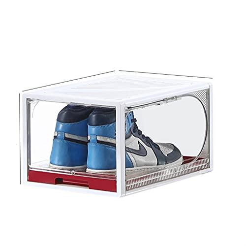OUBALA Caja de Zapatillas extraíble con cajón de Alta Capacidad, Caja organizadora de Zapatos de plástico, Caja de Almacenamiento de Zapatos con cajón Grueso Rectangular (Color : White Red)