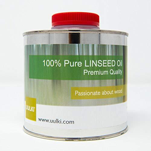 Uulki Reines Leinöl Möbelöl Holzschutz Holzöl Holzpflege | Ein universell einsetzbares Pflegeöl für Möbel und Holzoberflächen im Innen- und Außenbereich Arbeitsplattenöl (500 ml)