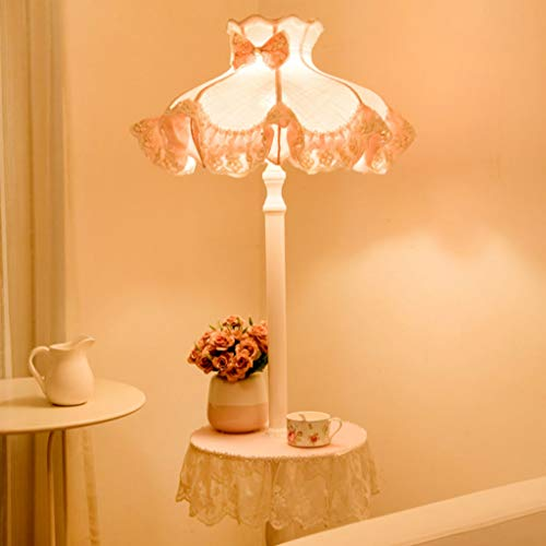 Stof hallamp voor de woonkamer, kant, slaapkamer, salontafel, decoratieve lampen, roze M20-02-10