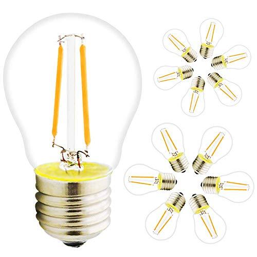 Bombillas de filamento LED E27 G45, 2 W = 20 W, 180 lm, luz blanca cálida 2700 K, cristal transparente, A++, ángulo de haz de 360 grados, para interior y exterior