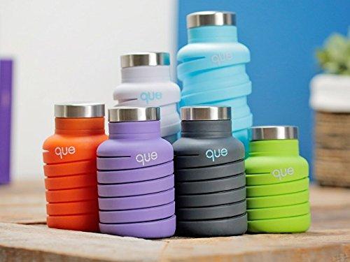 queBottle伸縮自在オシャレでキュートな環境にもやさしいドリンクボトル日本正規品(Sサイズ(355ml),ブルー)